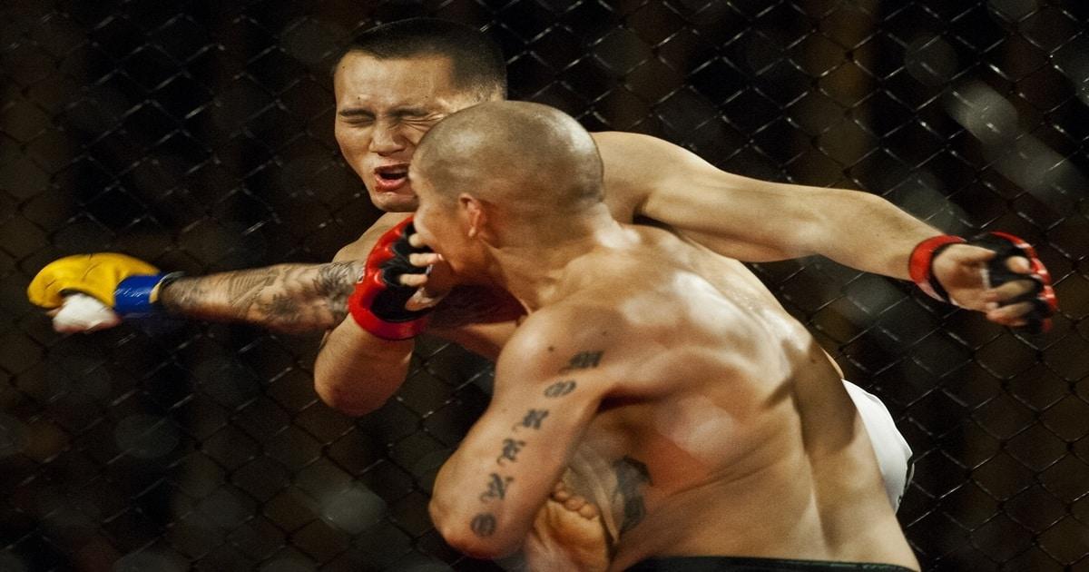 Lutador acertando um soco em outro lutador - Entenda como a odontologia esportiva beneficia os atletas