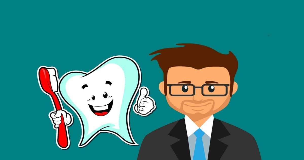Ilustração de um dentista ao lado de um dente segurando uma escova de dentes e fazendo um sinal positivo com a mão - Entenda como a odontologia esportiva beneficia os atletas