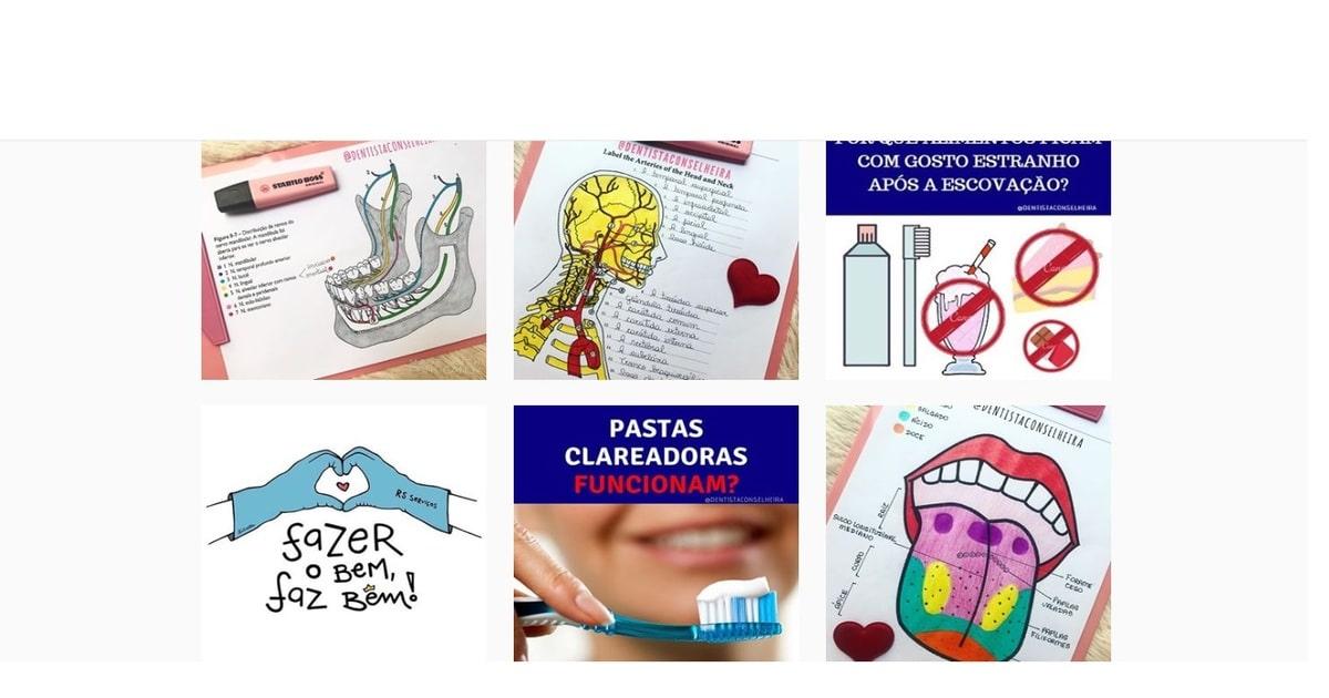 print das publicações do instagram @dentistaconselheira