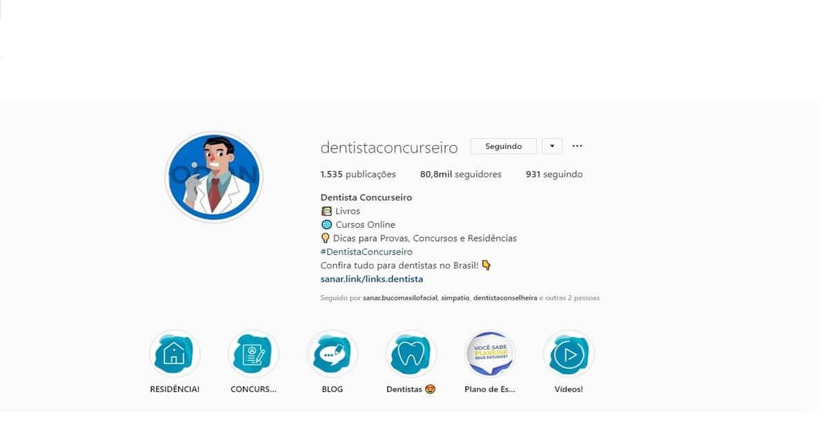 print perfil do instagram @dentistaconcurseiro