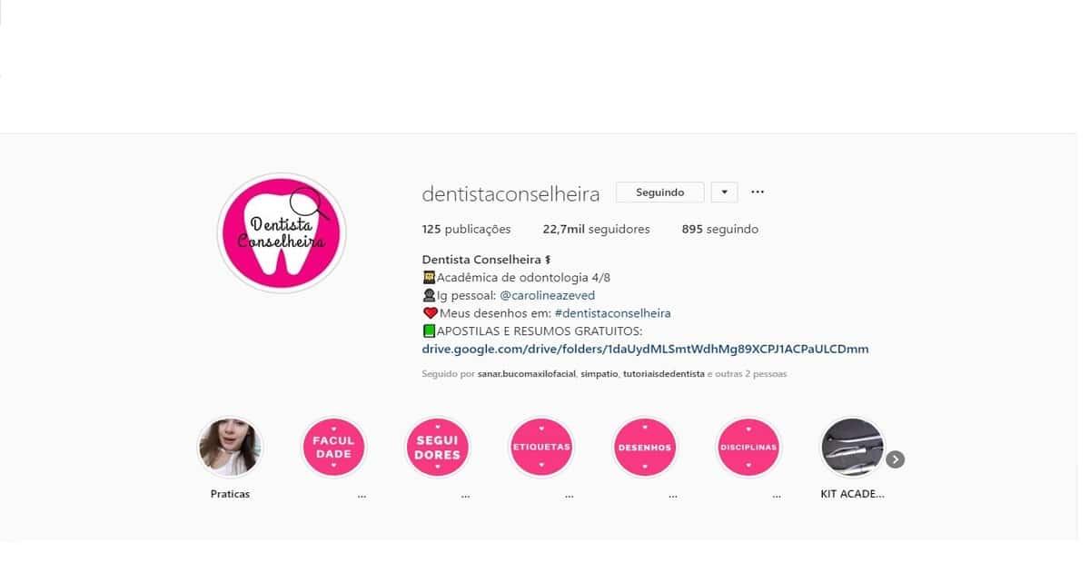 print perfil do instagram @dentistaconselheira