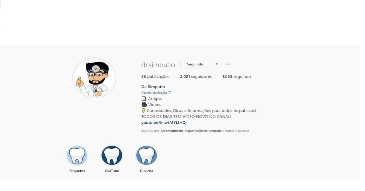 print perfil do instagram @drsimpatio