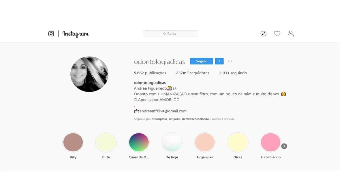 print perfil do instagram @odontologiadicas