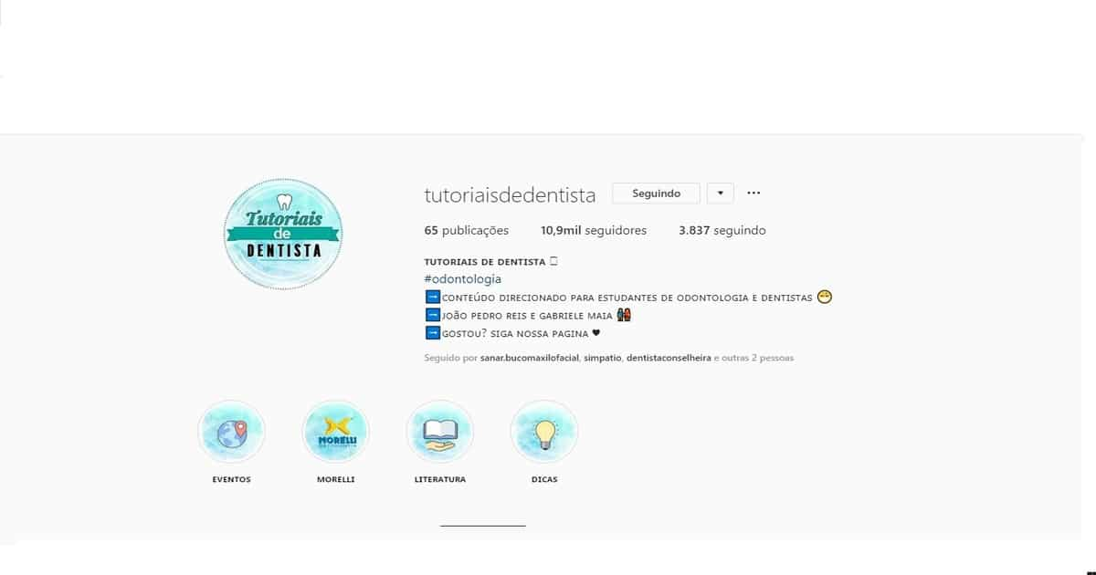 print perfil do instagram @tutoriaisdedentista