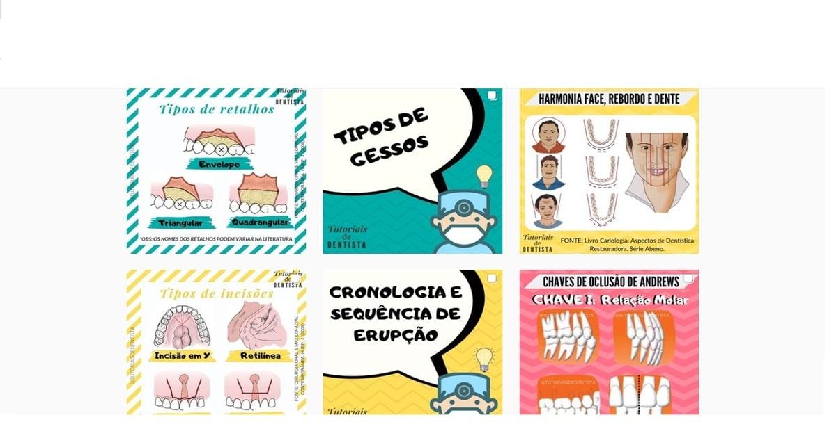 print das publicações do instagram @tutoriaisdedentista