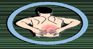Ilustração de uma pessoa de costas com as mãos na coluna.
